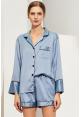 Satin Lounge Shorts Set in Dusty Blue