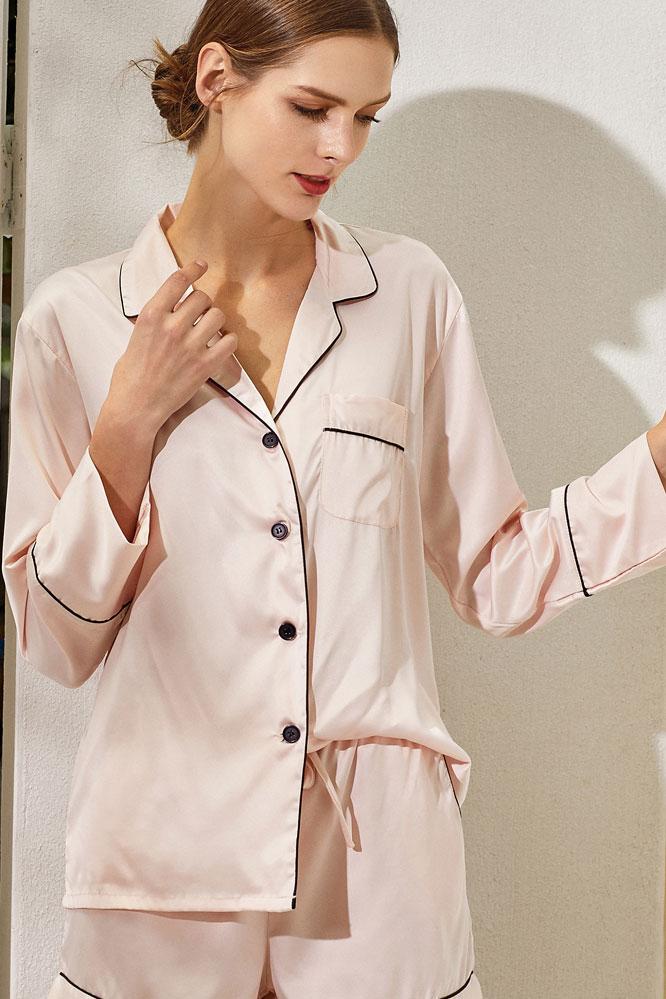 Satin Lounge Shorts Set in Blush