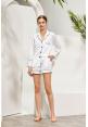 Satin Lounge Shorts Set in White