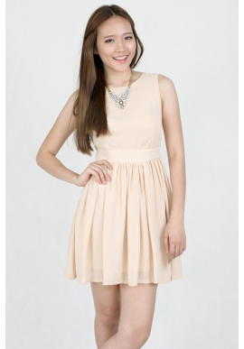 Ava Skater Dress in Nude