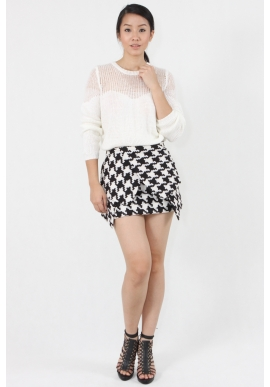 Origami Knit Skirt in Houndstooth