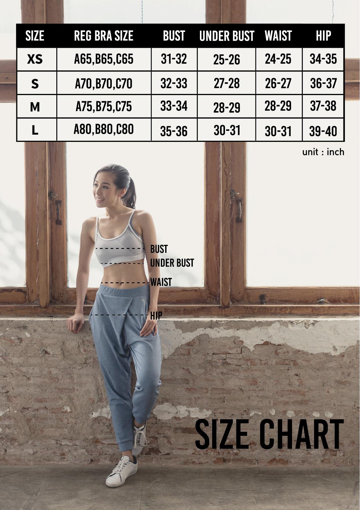 Wakingbee Activewear Size Chart