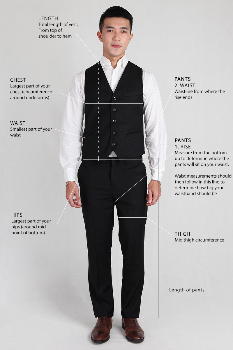 Groomsmen Sizing guide